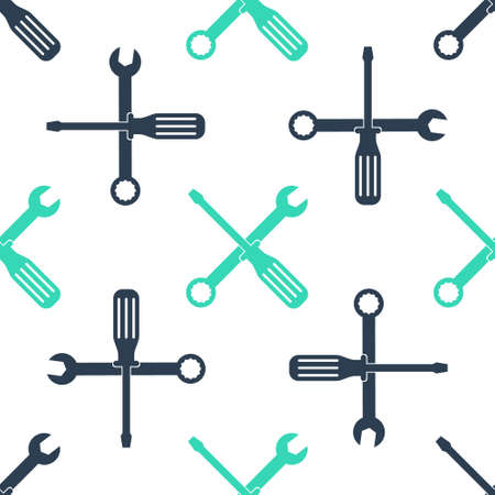 Green Spanner and screwdriver tools icon isolated seamless pattern on white background. Service tool symbol. Vector