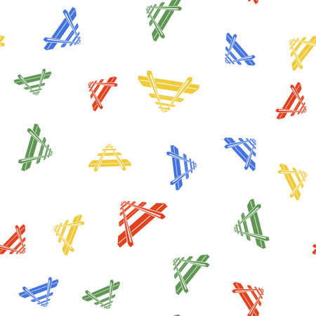 Color Railroad icon isolated seamless pattern on white background. Vector