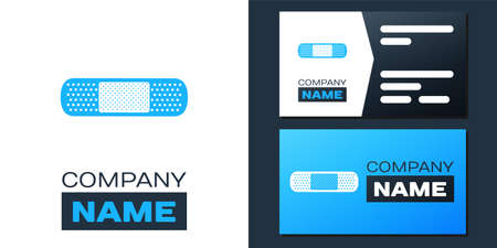 Logotype Bandage plaster icon isolated on white background. Medical plaster, adhesive bandage, flexible fabric bandage. Logo design template element. Vector