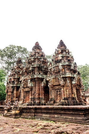 Ancient art, including magnificent castles. Created by Jayavarthon on 900 years ago is now a tourist attraction. And heritage of the world. In Cambodia. Stock Photo