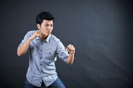 Style of fighting in the studio photo
