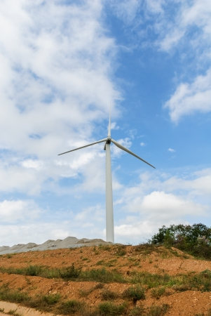Wind turbines produce electricity in Thailand photo