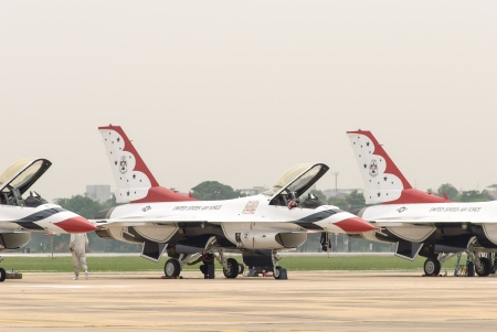 united states air force: United States Air Force Thunderbirds military aerobatic team during an exhibition at Royal Thai Air Force Base, Bangkok, Thailand