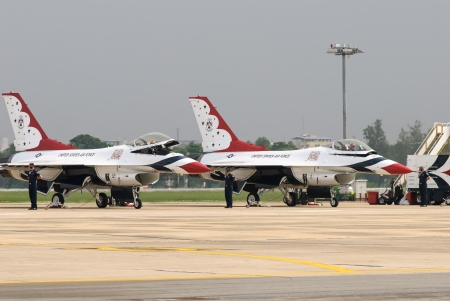 United States Air Force Thunderbirds military aerobatic team during an exhibition at Royal Thai Air Force Base, Bangkok, Thailand