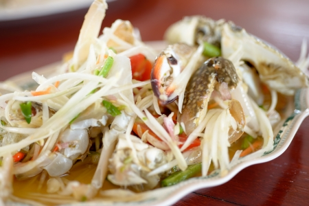 Authentic Thai Papaya salad with freshwater crab photo