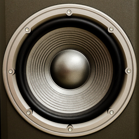 Close up of a stereo audio loudspeaker with a nice finish. This is a woofer or bass cone. Great for all your music projects. There are other shots in this series also...