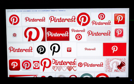 Bangkok, Thailand - March 29, 2014: Part of Pinterest logo in browser on LCD screen. Pinterest is www site simulating pinboard allowing users to attach photos with their theme interest. The site allows users to connect with other people with same interest