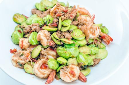 Stir-fried Stink Bean with Prawn, Asian Food