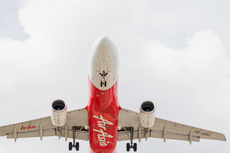 BANGKOK, THAILAND - MAY 20, 2015: HS-BBN Airbus A320-216 of Thai AirAsia landing to Don Mueang International Airport Thailand. Thai AirAsia company is the largest low cost airlines in Asia.