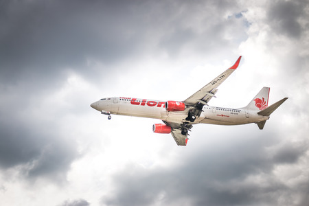 BANGKOK, THAILAND - MAY 20, 2015: HS-LTH Thai Lion Air Boeing 737-900  landing to Don Mueang International Airport Thailand. Thai Lion Air  company is the largest low cost airlines in Asia.