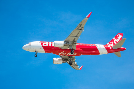 BANGKOK, THAILAND - JUNE 1, 2015: HS-BBO Airbus A320-216 of Thai Air Asia landing to Don Mueang International Airport Thailand. Thai Air Asia company is the largest low cost airlines in Asia.