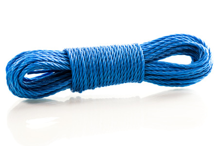 Abstract background: Blue nylon utility rope equipment object isolated on white background