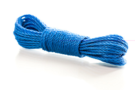 nylon: Blue nylon utility rope equipment object isolated on white background