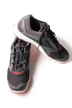 unbranded: New unbranded running shoe color black and red, sneaker or trainer isolated on white background