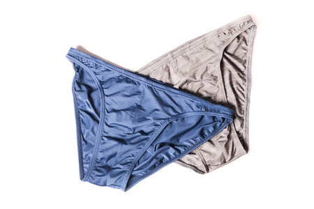 cotton panties: Male new underpants or underware bikini blue and grey color isolated on white background
