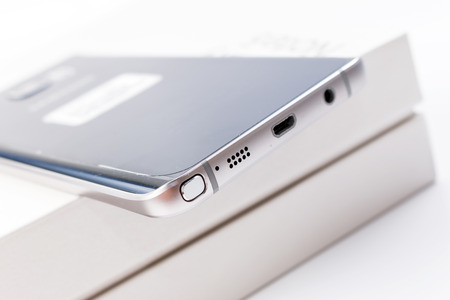 samsung galaxy: Bangkok, Thailand - November 8, 2015:New Smartphone Samsung Galaxy Note 5 with S Pen unpacking.The display 5.7 inch QHD 518 ppi and camera 16MP. Galaxy Note 5 developed by Samsung Electronics co. ltd
