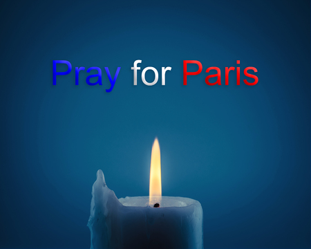 candle light: Pray for Paris 13 November 2015, Candle light with  France flag and message.