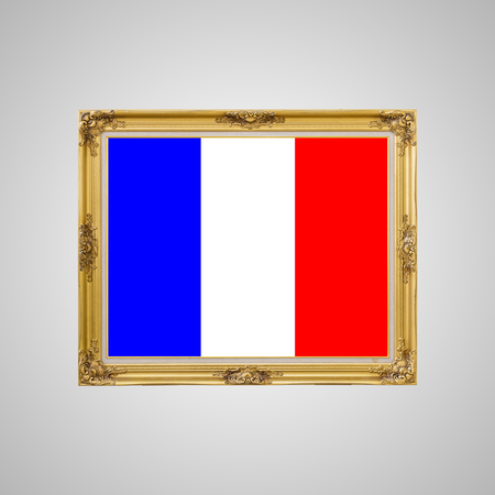 carnage: Gold louise photo frame over white background and Pray for Paris 13 November with  France flag Stock Photo