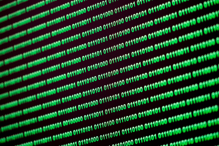 security monitor: Binary code green blue digital color on black background with zoom effect for graphic design it taken by computer monitor with close up lens Stock Photo