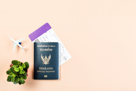 Flat lay and copy space for design work of Thailand official passport, boarding pass, small cactus and airplane on yellow pastel color background.