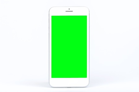 A modern mobile smart phone with blank green screen isolated copy space on white background