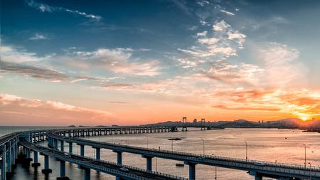 Dalian Bridge under the sunset