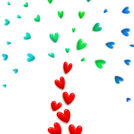 small red, pink, blue with green hearts are set with like a fountain or like a colorful tree on white color background. Flat lay.