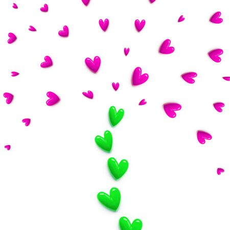 small pink with green hearts are set with like a fountain or like a tree on white color background. Flat lay.