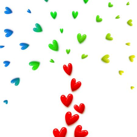 small red, pink, blue,yellow with green hearts are set with like a fountain or like a colorful tree on white color background. Flat lay.