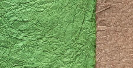 japanese abstract paper texture.2 colors of green and light brown. close up.