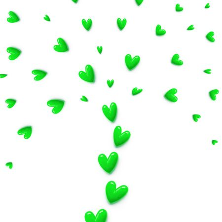 small green hearts are set with like a fountain or like a tree on white color background. Flat lay. Foto de archivo