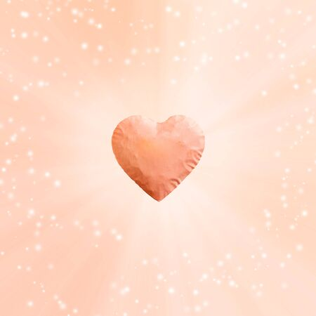 Energy of the light comes out of big pink heart and copy space. bright sparkly pink background.