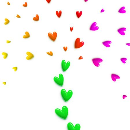 small red, pink, yellow with green hearts are set with like a fountain or like a colorful tree on white color background. Flat lay. Foto de archivo