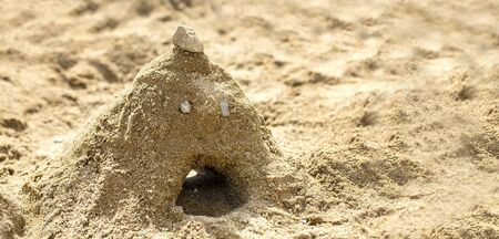 a mountain made of the sand with the face made by kids in sandbox on a playground and copy space.