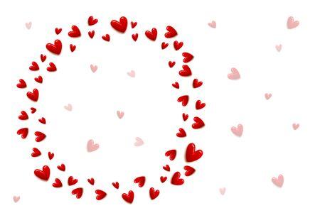 套在白色颜色背景和拷贝空间隔绝的红色心脏。用一点红色心脏饰品制成的圈子。