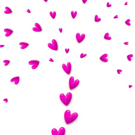 small pink hearts are set with like a fountain or like a tree on white color background. Flat lay. Foto de archivo