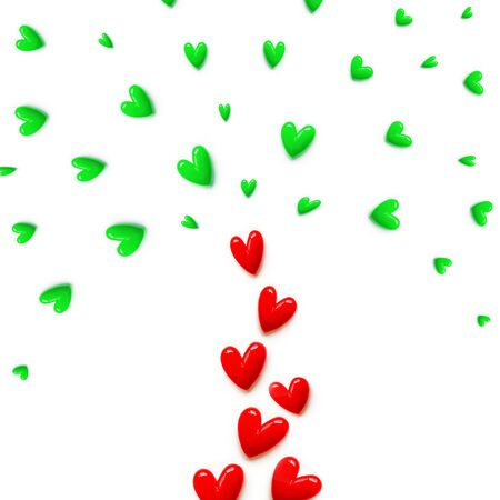 small red with green hearts are set with like a fountain or like a tree on white color background. Flat lay.