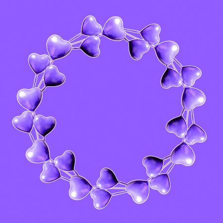 Set of circle made of purple hearts isolated on purple background and copy space. Valentine's Day or mother's day ornament is colorful Tones.Flat lay. Stock Photo