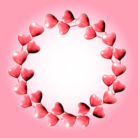 Set of circle made of pink hearts isolated on pink with white background and copy space. Valentine's Day or mother's day ornament is colorful Tones.Flat lay.
