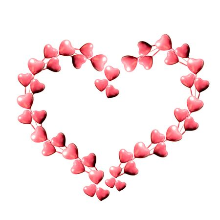 Set of big heart made of pink hearts isolated on white background and copy space. Valentine's Day or mother's day ornament is colorful Tones.Flat lay.