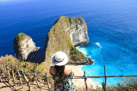woman stand back with the kelingking beach and deep blue sea on Nusa Penida Isaland. kelingking beach or T-Rex Head Beach is attraction tourist. travel concept