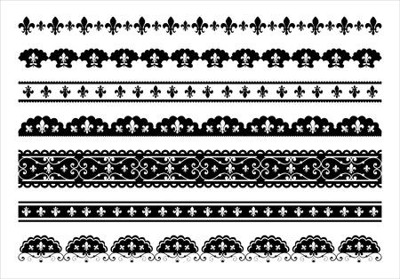 festonati: Set di Fleur de lis bordi frastagliati