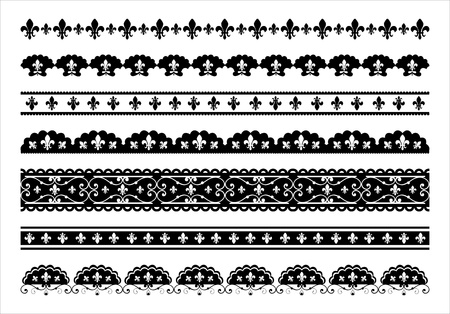 fleur de lis: Set of  Fleur de lis scalloped borders Illustration