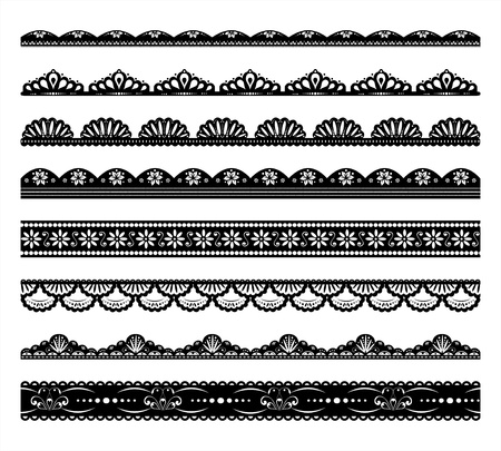Set of 8 vector scalloped borders Stock Vector - 11474112