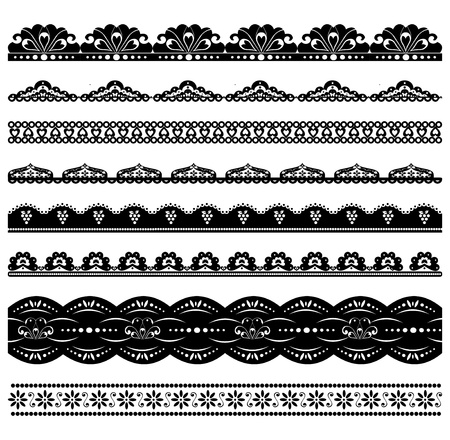 Set of 8 vector scalloped borders