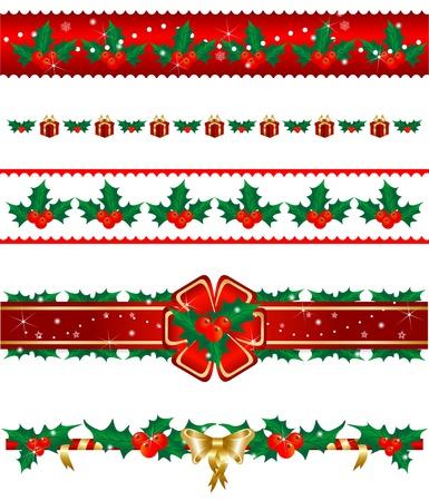 slingers: Set van Kerstmis grenzen Stockfoto