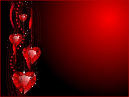 Red heart shaped gemstones background