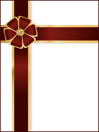 Blank card with chocolate ribbon and bow Stock Photo