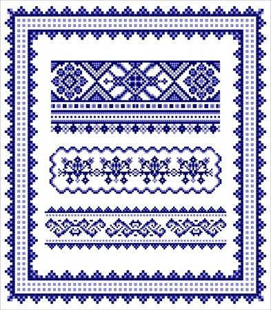 slavic: Ethnic cornice a punto croce e modello confini set