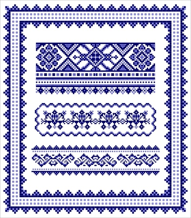 Ethnic cross stitch frame & borders pattern set